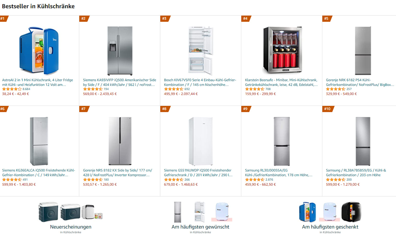 Bestseller Kühlschränke
