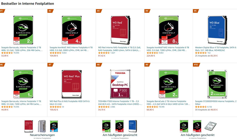 Bestseller SATA interne Festplatten