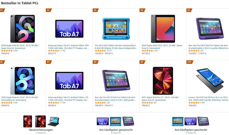 Bestseller Tablet PCs